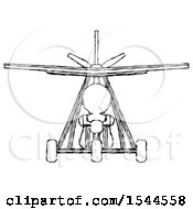 Sketch Design Mascot Man In Ultralight Aircraft Front View