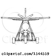 Sketch Design Mascot Woman In Ultralight Plane Front View