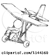 Sketch Design Mascot Man In Ultralight Aircraft Top Side View