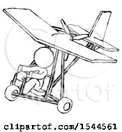 Sketch Design Mascot Woman In Ultralight Aircraft Top Side View