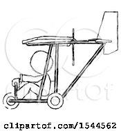Sketch Design Mascot Man In Ultralight Aircraft Side View