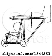 Sketch Design Mascot Woman In Ultralight Aircraft Side View