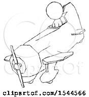 Sketch Design Mascot Man In Geebee Stunt Plane Descending View