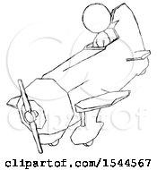 Sketch Design Mascot Woman In Geebee Stunt Plane Descending View
