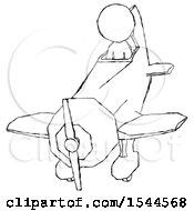 Sketch Design Mascot Man In Geebee Stunt Plane Descending Front Angle View