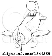 Sketch Design Mascot Woman In Geebee Stunt Plane Descending Front Angle View