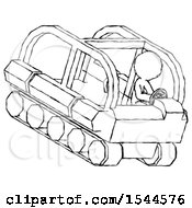 Sketch Design Mascot Man Driving Amphibious Tracked Vehicle Top Angle View