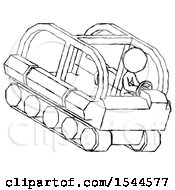 Sketch Design Mascot Woman Driving Amphibious Tracked Vehicle Top Angle View