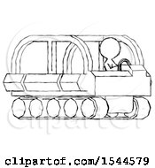 Sketch Design Mascot Woman Driving Amphibious Tracked Vehicle Side Angle View