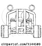 Sketch Design Mascot Man Riding Sports Buggy Front View