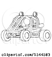 Sketch Design Mascot Woman Riding Sports Buggy Side Angle View
