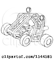 Sketch Design Mascot Woman Riding Sports Buggy Side Top Angle View