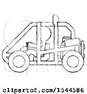 Sketch Design Mascot Man Riding Sports Buggy Side View