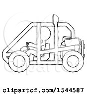 Sketch Design Mascot Woman Riding Sports Buggy Side View