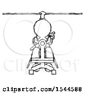 Sketch Design Mascot Man Flying In Gyrocopter Front View