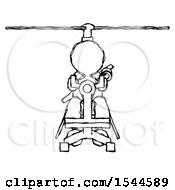 Sketch Design Mascot Woman Flying In Gyrocopter Front View