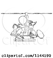 Sketch Design Mascot Man Flying In Gyrocopter Front Side Angle View