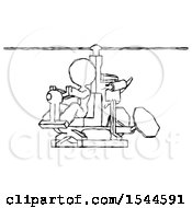 Sketch Design Mascot Woman Flying In Gyrocopter Front Side Angle View