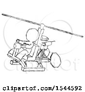 Sketch Design Mascot Man Flying In Gyrocopter Front Side Angle Top View