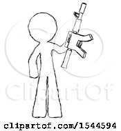 Sketch Design Mascot Man Holding Automatic Gun