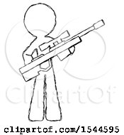 Sketch Design Mascot Man Holding Sniper Rifle Gun