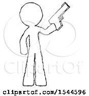 Sketch Design Mascot Man Holding Handgun