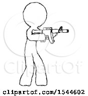 Sketch Design Mascot Man Shooting Automatic Assault Weapon