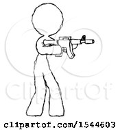 Sketch Design Mascot Woman Shooting Automatic Assault Weapon