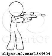 Sketch Design Mascot Man Shooting Sniper Rifle