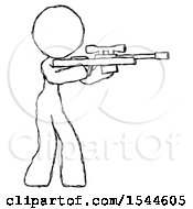 Sketch Design Mascot Woman Shooting Sniper Rifle