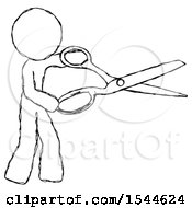 Sketch Design Mascot Man Holding Giant Scissors Cutting Out Something