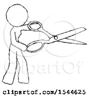 Sketch Design Mascot Woman Holding Giant Scissors Cutting Out Something
