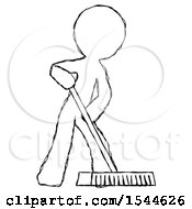 Sketch Design Mascot Man Cleaning Services Janitor Sweeping Floor With Push Broom