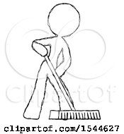 Sketch Design Mascot Woman Cleaning Services Janitor Sweeping Floor With Push Broom