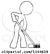 Sketch Design Mascot Woman Cleaning Services Janitor Sweeping Side View