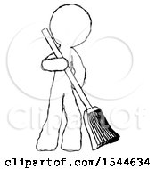Sketch Design Mascot Man Sweeping Area With Broom