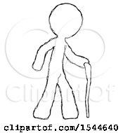 Sketch Design Mascot Man Walking With Hiking Stick