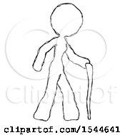Sketch Design Mascot Woman Walking With Hiking Stick