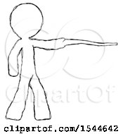 Sketch Design Mascot Man Pointing With Hiking Stick