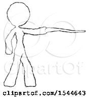 Sketch Design Mascot Woman Pointing With Hiking Stick