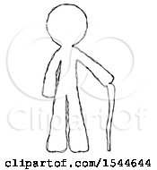 Sketch Design Mascot Man Standing With Hiking Stick