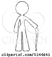 Sketch Design Mascot Woman Standing With Hiking Stick