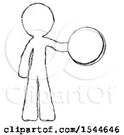 Sketch Design Mascot Man Holding A Large Compass