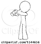 Sketch Design Mascot Man Holding Binoculars Ready To Look Left by Leo Blanchette