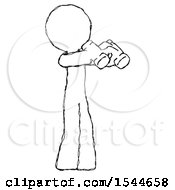 Sketch Design Mascot Man Holding Binoculars Ready To Look Right by Leo Blanchette