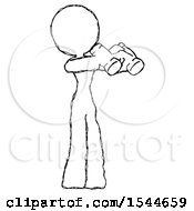 Sketch Design Mascot Woman Holding Binoculars Ready To Look Right by Leo Blanchette