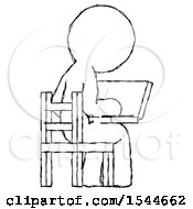 Sketch Design Mascot Man Using Laptop Computer While Sitting In Chair View From Back by Leo Blanchette