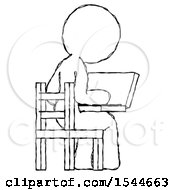 Sketch Design Mascot Woman Using Laptop Computer While Sitting In Chair View From Back by Leo Blanchette