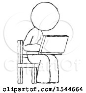 Sketch Design Mascot Woman Using Laptop Computer While Sitting In Chair Angled Right by Leo Blanchette