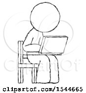 Sketch Design Mascot Man Using Laptop Computer While Sitting In Chair Angled Right by Leo Blanchette